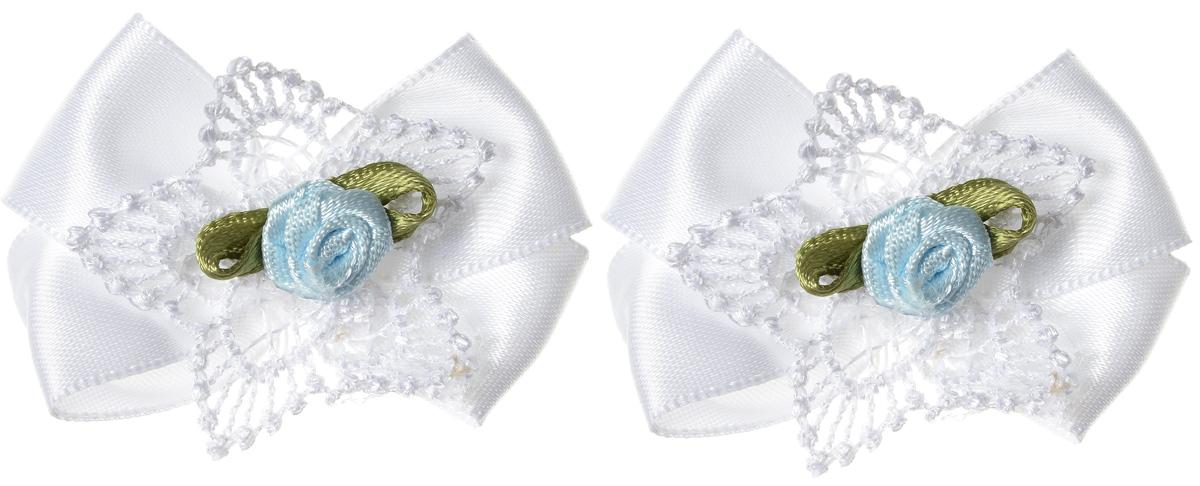 Baby\'s Joy Мини-бант для младенцев на липучке цвет белый 2 шт MN 151 M ( MN 151m_белый/роза )
