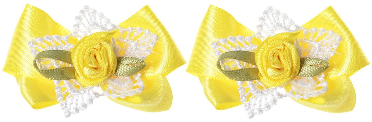 Baby\'s Joy Мини-бант для младенцев на липучке цвет желтый 2 шт MN 151 M ( MN 151m_желтый/роза )