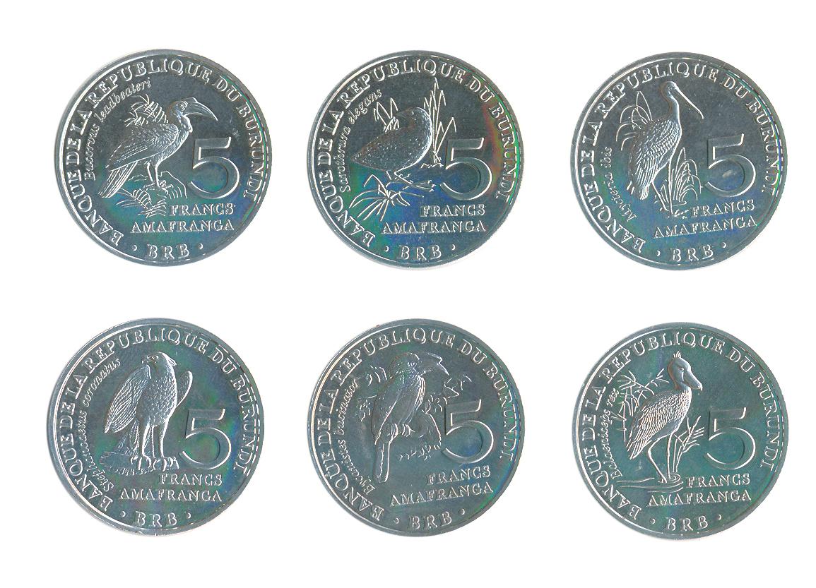 Набор из 6 монет номиналом 5 франков Птицы. Бурунди, 2014 год324006Состояние: UNC Диаметр монет: 26 мм. Вес: 13,4 гр. Материал: Алюминий.