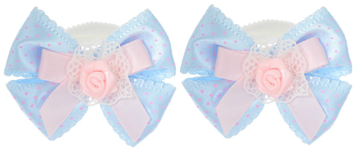 Резинка для волос Babys Joy, цвет: голубой, 2 шт. MN 137/2MN 137/2_голубой в розовый горохРезинка для волос Babys Joy изготовлена из текстиля и дополнена милым бантиком, который оформлен розочкой. Комплект содержит две резинки. Резинка для волос Babys Joy надежно зафиксирует волосы и подчеркнет красоту прически вашей маленькой принцессы.
