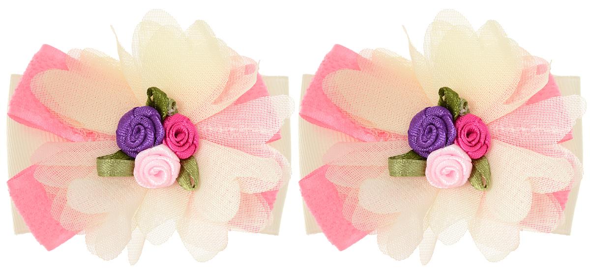 Резинка для волос Baby's Joy, цвет: розовый, кремовый, 2 шт. MN 143/2