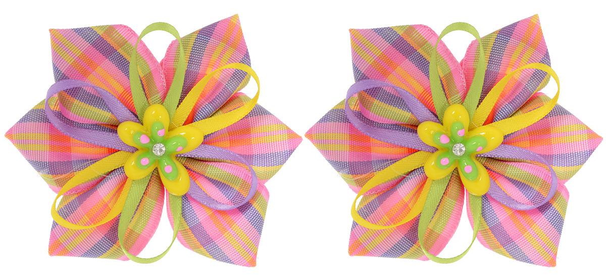 Резинка для волос Babys Joy, цвет: желтый, зеленый, фиолетовый, розовый, 2 шт. MN 137/2MN 137/2_желтый/фиолетовый/розовый/зеленыйРезинка для волос Babys Joy изготовлена из текстиля и дополнена милым бантиком, который оформлен цветком из пластика. Комплект содержит две резинки. Резинка для волос Babys Joy надежно зафиксирует волосы и подчеркнет красоту прически вашей маленькой принцессы.