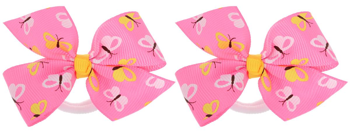 Резинка для волос Babys Joy, цвет: розовый, 2 шт. MN 151mMN 151m_розовый/белые и желые бабочкиРезинка для волос Babys Joy изготовлена из текстиля и дополнена милым бантиком, который оформлен принтом с изображением бабочек. Комплект содержит две резинки. Резинка для волос Babys Joy надежно зафиксирует волосы и подчеркнет красоту прически вашей маленькой принцессы.