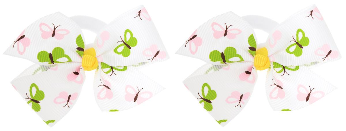 Baby\'s Joy Резинка для волос цвет белый розовый салатовый 2 шт MN 151 M ( MN 151m_белый/розовые и зеленые бабочки )