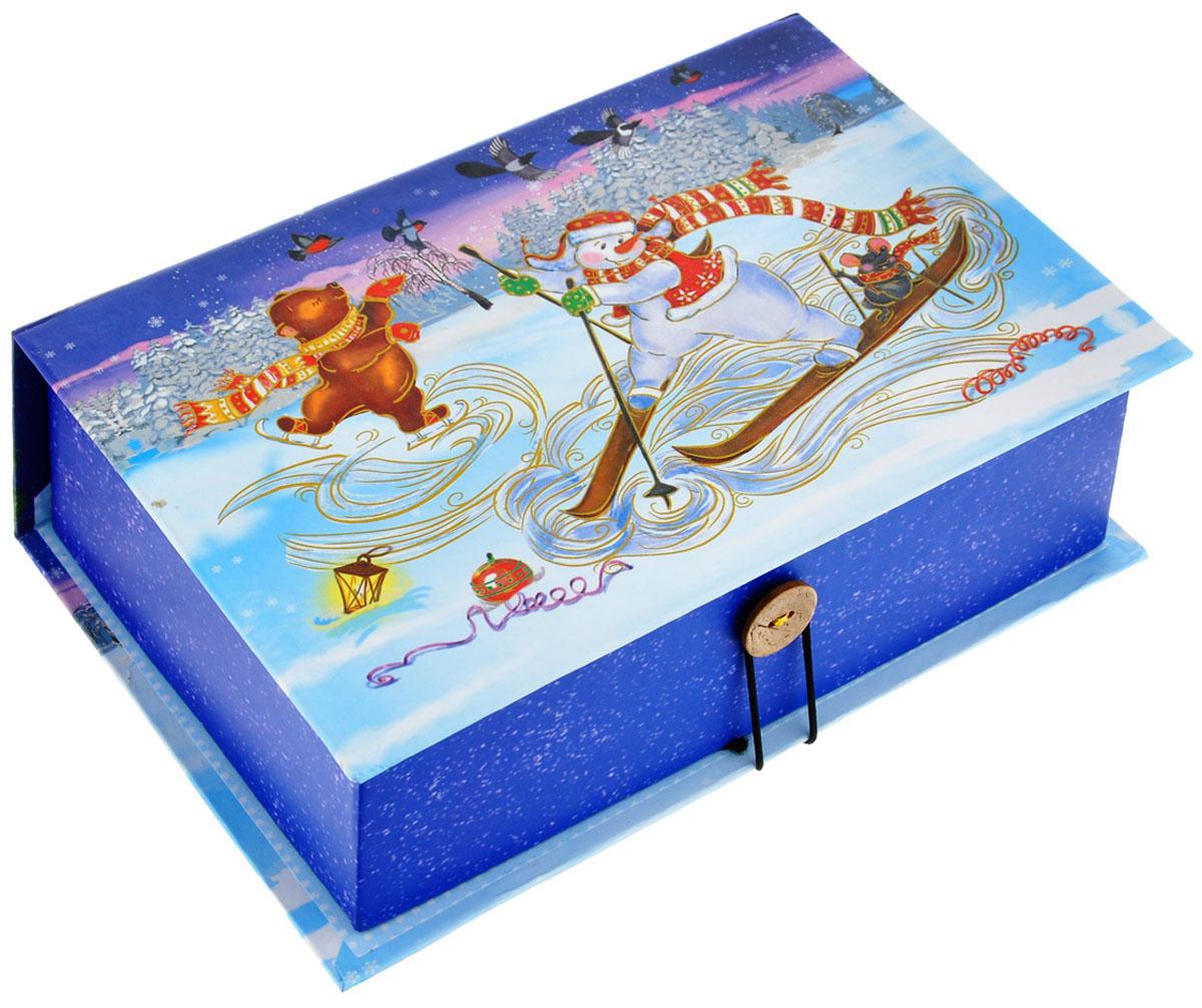 """Подарочная коробка Феникс-Презент """"Снеговик на лыжах"""", 20 см х 14 см х 6 см 39254"""