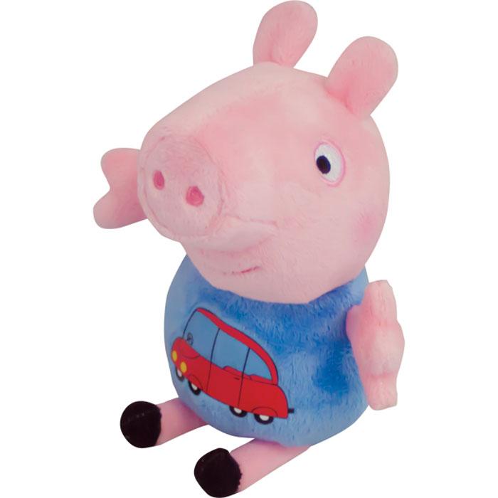 Peppa Pig Мягкая игрушка Джордж с машинкой29620Мягкая игрушка «Джордж» ТМ «Peppa Pig» имеет высоту 18 см (размер указан с ножками), изготовлена из мягкой, приятной на ощупь велюровой ткани, плотно набита, глаза и рот вышиты, на пижаме красочная аппликация в виде машинки. Товар сертифицирован.