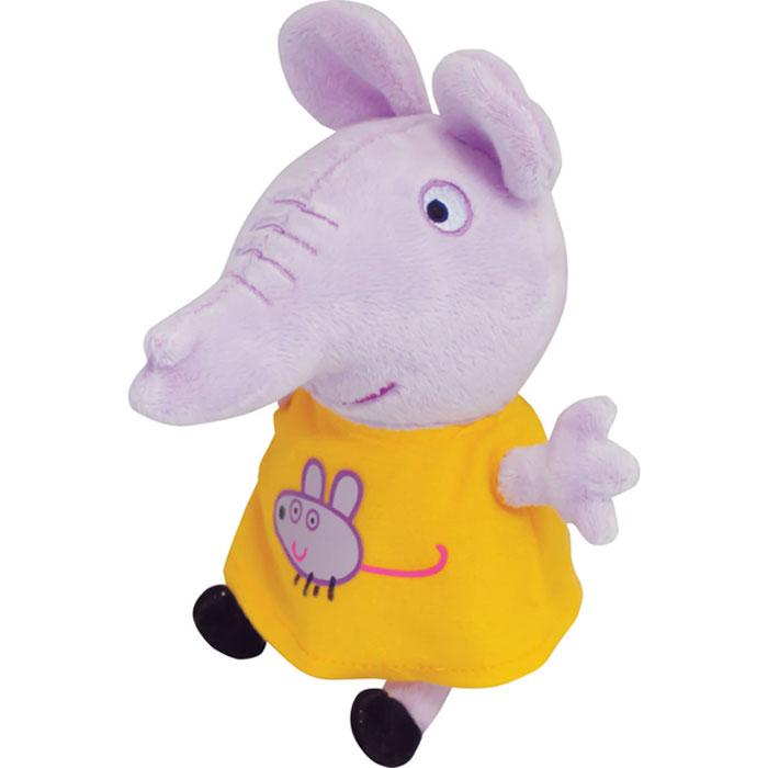 Peppa Pig Мягкая игрушка Эмили с мышкой 20 см29623Мягкая игрушка «Слон Эмили» ТМ «Peppa Pig» имеет высоту 20 см (размер указан с ножками), изготовлена из мягкой, приятной на ощупь велюровой ткани, плотно набита. Глаза и рот вышиты, на платье красочная аппликация в виде мышки. Товар сертифицирован.