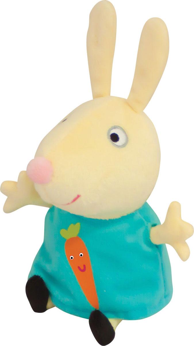 Peppa Pig Мягкая игрушка Ребекка с морковкой 20 см29624Мягкая игрушка «Кролик Ребекка» ТМ «Peppa Pig» имеет высоту 20 см (размер указан с ножками), изготовлена из мягкой, приятной на ощупь велюровой ткани, плотно набита. Глаза и рот вышиты, на платье красочная аппликация в виде морковки. Товар сертифицирован.