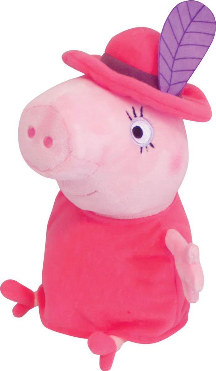 Peppa Pig Мягкая игрушка Мама Свинка в шляпе 30 см29625Маленьким поклонникам Свинки Пеппы не придется скучать с мягкой игрушкой в виде Мамы Свинки в очаровательной шляпе с пером, как в мультфильме. С ней можно задорно играть, ее приятно обнимать, а спать, обнимая любимую героиню мультфильма, - одно удовольствие: все сны сразу становятся сладкими и безмятежными. Мягкая игрушка Peppa Pig Мама Свинка в шляпе очень приятна на ощупь, так как изготовлена из нежной велюровой ткани и плотно набита. Глазки, носик и ротик выполнены в виде плотной вышивки. Платье и шляпа несъемные.