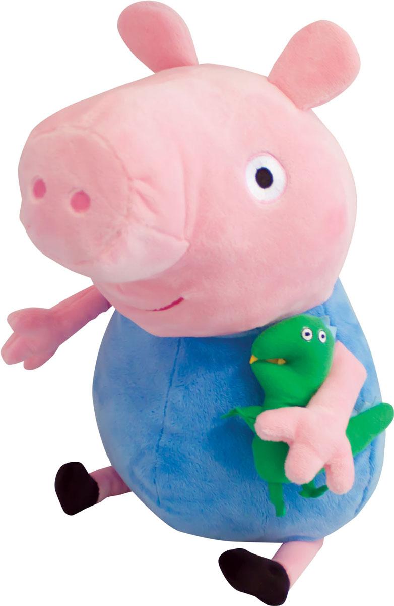 Peppa Pig Мягкая игрушка Джордж с динозавром 40 см29626Чудесная мягкая игрушка Джордж с динозавром станет вашему малышу отличным другом. С любимым героем мультфильма необыкновенно весело играть, его легко можно брать с собой в садик или в гости. Сны в обнимку с забавным плюшевым другом станут гораздо слаще и красочней. Если приобрести других персонажей из серии Peppa Pig, то ваш малыш оживит приключения своих любимых героев прямо у вас дома. Мягкая игрушка Джордж с динозавром высотой 40 см (размер указан с ножками) качественно сшита из мягкого, приятного на ощупь плюша, плотно набита. Глазки, носик и ротик вышиты. Под лапкой Джорджа пришит маленький динозавр - его любимая игрушка.