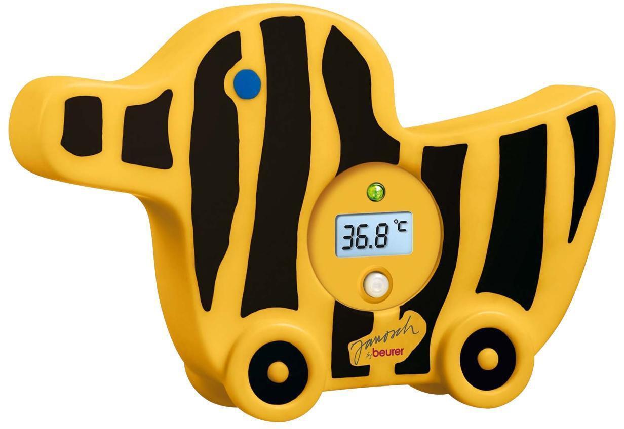 Термометр Beurer JBY08 для ваннойJBY08Beurer JBY 08 - это детский водонепроницаемый термометр для ванной. Он выполнен в виде собачки и его можно использовать в качестве игрушки для ребенка. Термометр сигнализирует о горячей воде и имеет светодиодную индикацию температуры. Он полностью безопасен для ребенка и обладает автоматическим отключением через 10 минут.