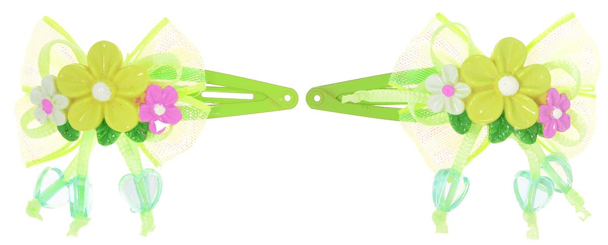 Babys Joy Заколка для волос цвет салатовый 2 шт VT 192VT 192_салатовыйЗаколка для волос Babys Joy выполнена из металла и украшена блестящим полупрозрачным бантиком с пластиковыми цветочками и сердечками. Заколка позволит не только убрать непослушные волосы с лица, но и придать образу немного романтичности и очарования. Заколка для волос Babys Joy подчеркнет уникальность вашей маленькой модницы и станет прекрасным дополнением к ее неповторимому стилю.