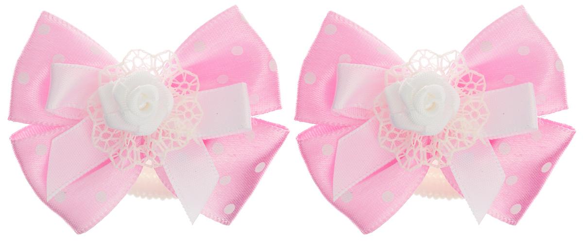 Резинка для волос Babys Joy, цвет: розовый, 2 шт. MN 137/2MN 137/2_розовый в белый горохРезинка для волос Babys Joy изготовлена из текстиля и дополнена милым бантиком, который оформлен розочкой. Комплект содержит две резинки. Резинка для волос Babys Joy надежно зафиксирует волосы и подчеркнет красоту прически вашей маленькой принцессы.