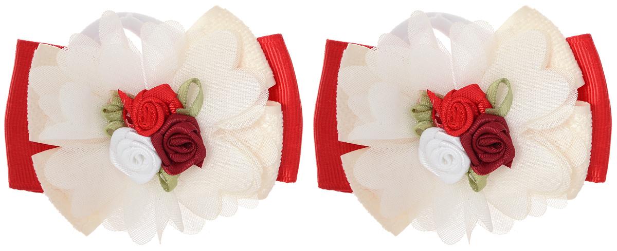 Резинка для волос Babys Joy, цвет: белый, красный, 2 шт. MN 143/2MN 143/2_белый/красныйРезинка для волос Babys Joy изготовлена из текстиля и дополнена милым бантиком, который оформлен тремя розочками. Комплект содержит две резинки. Резинка для волос Babys Joy надежно зафиксирует волосы и подчеркнет красоту прически вашей маленькой принцессы.