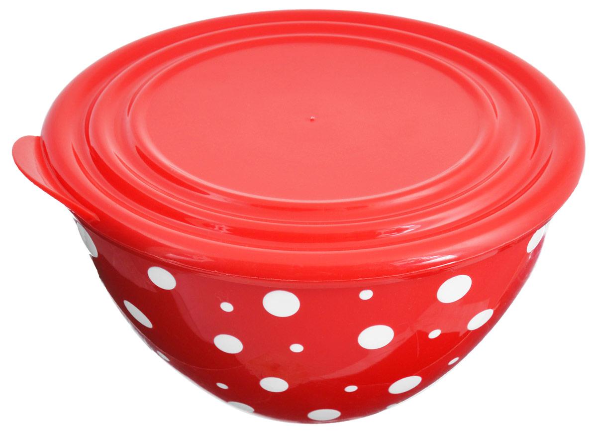 Салатник Альтернатива Горошек, с крышкой, цвет: красный, белый, 1,45 лМ2686Салатник Альтернатива Горошек изготовлен из высококачественного пищевого пластика. Изделие очень прочное, оно не разобьется и сохранит свой внешний вид в течение долгого времени. Внешние стенки украшены ярким принтом в горошек. Салатник подходит для сервировки салатов, закусок, соусов, фруктов, ягод и других блюд. Снабжен герметичной крышкой, что позволяет дольше сохранять продукты свежими и предотвращает заветривание, если вы храните пищу в холодильнике. Яркий стильный дизайн сделает такой салатник украшением сервировки стола. Диаметр салатника (по верхнему краю): 17,5 см.