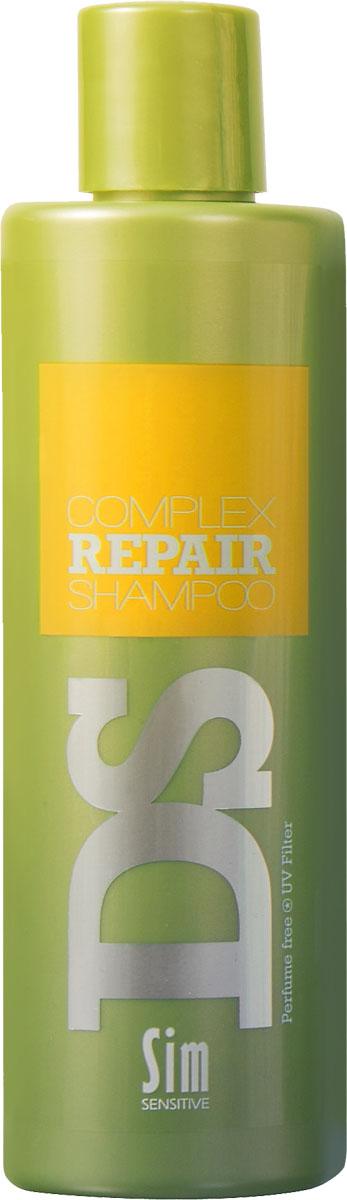 SIM SENSITIVE Шампунь для восстановления волос Repair 250 мл5184Шампунь Рипеир входит в состав Рипеир комплекса DS by Sim Sensitive. Шампунь не только эффективно очищает кожу головы и волосы, но и оказывает питающее и защитное действие за счет таких ингредиентов как аргановое масло, протеины пшеницы и гидролизованный белок. Кроме того, шампунь снабжен УФ-фильтром, защищающим волосы от ультрафиолета. Шампунь не содержит сульфаты, парабены и ароматизаторы.Состав:вода, дисодиум лоурет сульфосукцинат, моющее средство на основе кокосового масла, глицерин, аргановое масло, производные гидролизованного белка пшеницы, гидролизованный растительный белок, УФ фильтр.