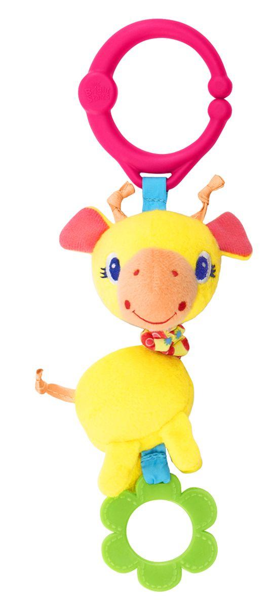 Bright Starts Развивающая игрушка Дрожащий дружок Жираф52073-2Развивающая игрушка Bright Starts Дрожащий дружок: Жираф обязательно понравится вашему малышу. Этот яркий жираф - вибрирующий. Нужно только потянуть за игрушку, и она задрожит на радость малышу! Подвеска содержит различные текстуры, приятные на ощупь, а также прорезыватель. С помощью удобного кольца игрушка легко крепится на коляску, кроватку, развивающий коврик.