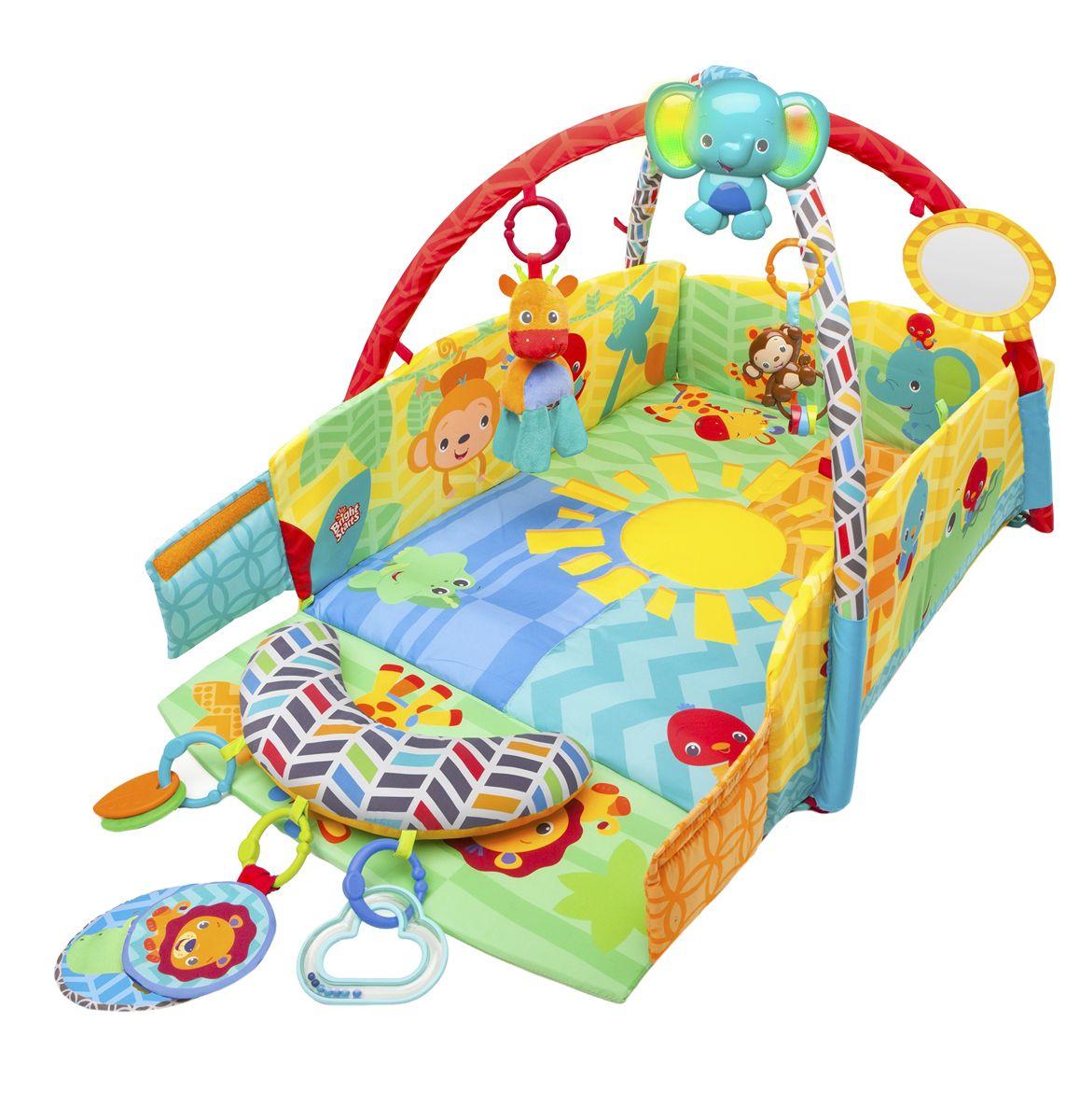 Bright Starts Развивающий коврик Солнечное сафари52157Яркий развивающий коврик Bright Starts Солнечное сафари подойдет для деток от рождения. Коврик будет развивать зрение, слух, мелкую моторику и воображения малыша. Коврик имеет защитные бортики, которые можно трансформировать под потребности малыша, опуская один из бортов или все сразу. В комплект входят игрушки: листики-прорезыватели, обезьянка-погремушка, безопасное зеркальце, плюшевый жираф-погремушка, шелестящие тканевые игрушки, погремушка-облако с шариками, интерактивный слоненок. Слоненок проигрывает мелодии и может играть на протяжении 20 минут. Также есть световые эффекты. Слоненок проявит активность, если кроха ее потрогает или вы можете включить ее самостоятельно. Слоника можно вешать на кроватку или коляску. Специальный мягкий валик можно использовать в качестве подушечки под животик, на него можно закрепить любимые игрушки. Все игрушки съемные, их можно менять местами или использовать вне коврика. Bright Starts - это торговая марка американской...