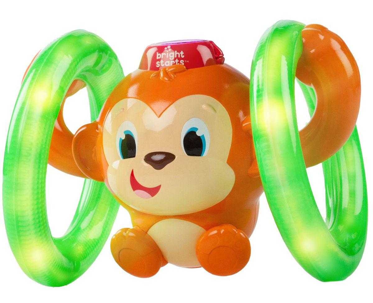 Bright Starts Развивающая игрушка Обезьянка на кольцах52181Развивающая игрушка Bright Starts Обезьянка на кольцах станет отличным подарком для вашего малыша. Нажмите веселой обезьянке на шляпу, и она покатится вперед, сопровождая это музыкой, забавными звуками и миганием огоньков в шляпе и колесах. Для детей от 6 до 36 месяцев. Для работы игрушки необходимы 3 батарейки типа ААА (товар комплектуется демонстрационными).