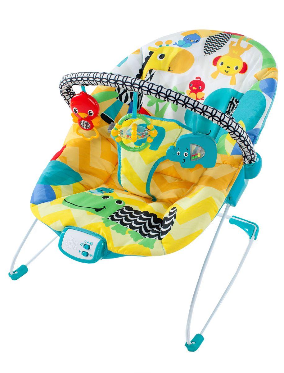 Bright Starts Кресло-качалка Солнечное сафари60390Кресло-качалка Bright Starts Солнечное сафари - это безопасный вариант для веселого времяпрепрoвождения малыша и освобождения маминых рук. Кресло-качалка имеет дугу с подвесными игрушками, успокаивающую вибрацию и музыкальное сопровождение. Для детей до 9 кг. Особенности: Режим мягкой вибрации и 7 мелодий (с автовыключением через 15 минут). Мягкое сиденье с поддерживающей спинкой. 3-точечное крепление для безопасности малыша. Противоскользящие элементы на ножках кресла. Съемная панель с 3-мя игрушками легко откидывается для быстрого доступа к малышу. Чехол можно стирать в стиральной машине с мягкими моющими средствами. Bright Starts - это торговая марка американской компании Kids II, которая появилась на свет в 1969 году. Несмотря на давнюю широкую известность в Америке и странах Европы, для российского рынка Bright Starts относительной новый бренд. Однако, не смотря на это, он уже успел приобрести...