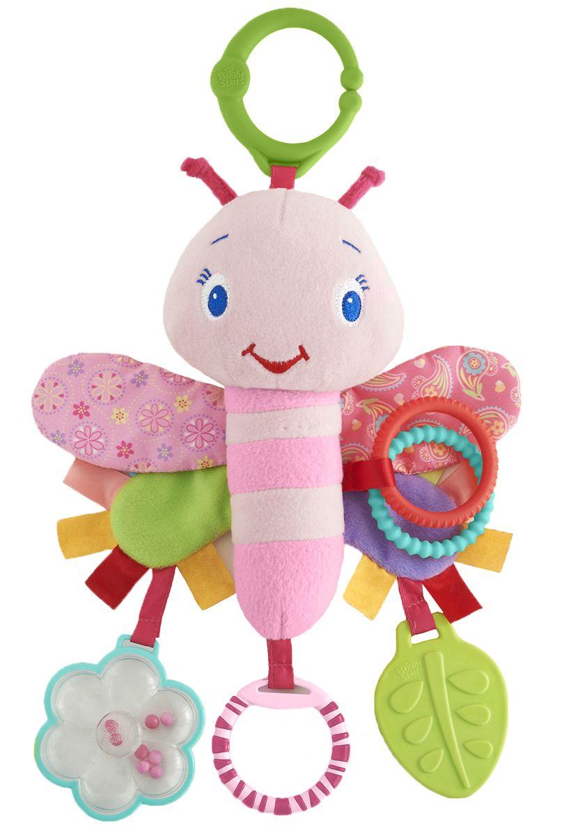 Bright Starts Развивающая игрушка-подвеска Розовая стрекоза9182Развивающая игрушка-подвеска Bright Starts Розовая стрекоза развивает зрение, слух и осязание малыша! Особенности: Плюшевая стрекоза с разноцветными шуршащими крылышками; Цветные гремящие шарики внутри прозрачного цветочка развивают слух; Атласные ленточки, рельефные кольца и различные текстуры для развития тактильных ощущений; Безопасное зеркальце; Прорезыватель в виде листочка; Легко крепится к переноске, коляске.