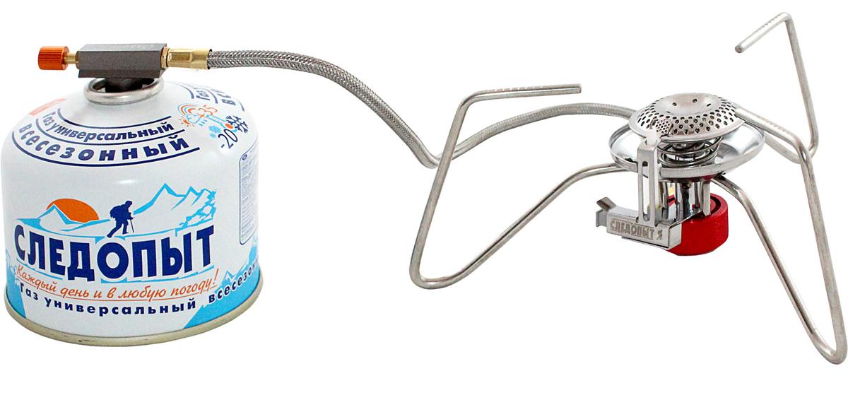 Горелка газовая Следопыт Паучок33235Газовая горелка Следопыт Паучок - недорогая, компактная и практичная газовая горелка с пьезоэлектрическим розжигом, оборудована системой защиты пламени от задувания порывами ветра. Основным преимуществом горелки является удлиненный газовый шланг длиной 50 см, что положительно сказывается на потребительских свойствах и повышает уровень безопасности для пользователя. Благодаря длинному шлангу вы сможете вынести газовый баллон за пределы рабочей области горелки или за пределы ветрозащитного экрана и не беспокоиться о том, что баллон может перегреться. А при эксплуатации в холодное время года вы можете разместить газовый баллон в спальном мешке или внутри палатки, либо установить баллон на крышку кастрюли, таким образом, обеспечивая подогрев газовой смеси. Для транспортировки и хранения в комплекте с прибором поставляется тканевый чехол, который защищает горелку от повреждений и загрязнения. Для питания используются газовые смеси в баллонах PF-FG-230 (230...