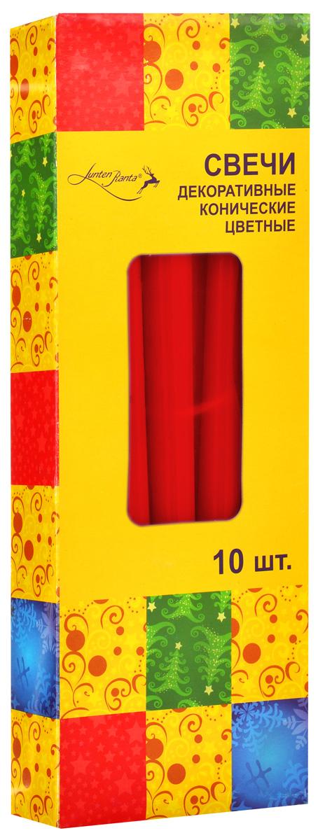 Набор декоративных свечей Lunten Ranta, цвет: красный, высота 25 см, 10 шт54288_5Набор Lunten Ranta состоит из 10 декоративных свечей конической формы, изготовленных из парафина. Такой набор украсит интерьер вашего дома или офиса и наполнит его атмосферу теплом и уютом. Диаметр основания свечи: 2 см.