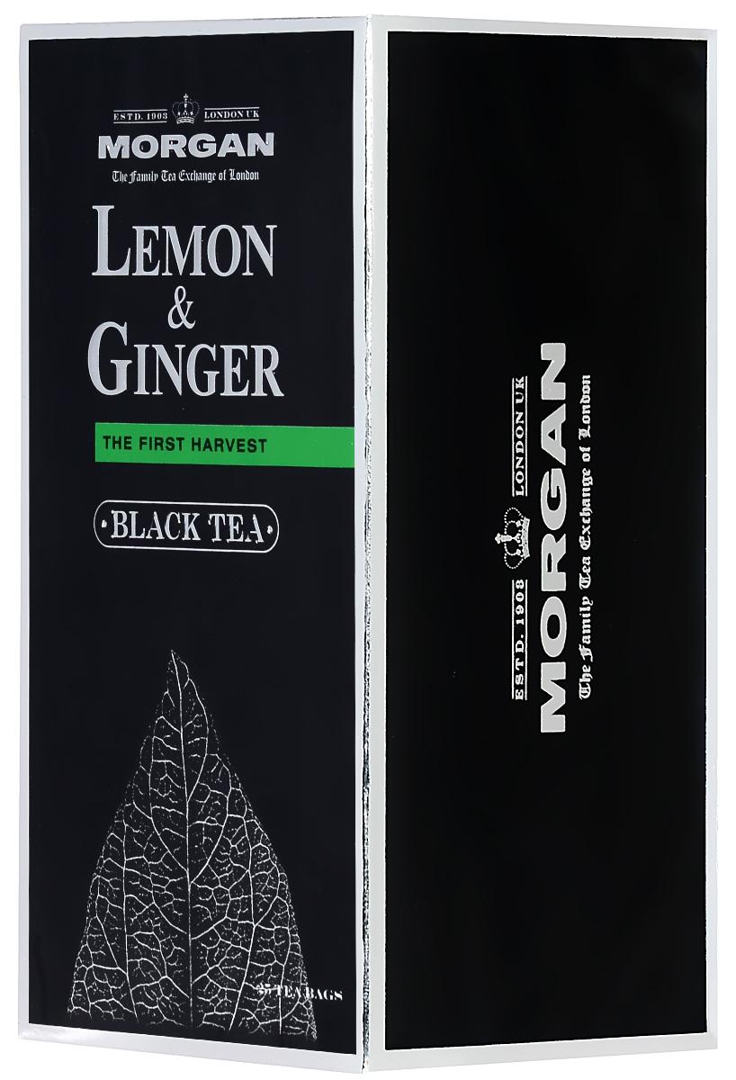 Morgan Lemon & Ginger чай черный в пакетиках, 25 шт4607141334283Пряный и согревающий классический чай с лимоном и имбирем Morgan придется по вкусу всем любителям напитка и прекрасно взбодрит в любое время суток.