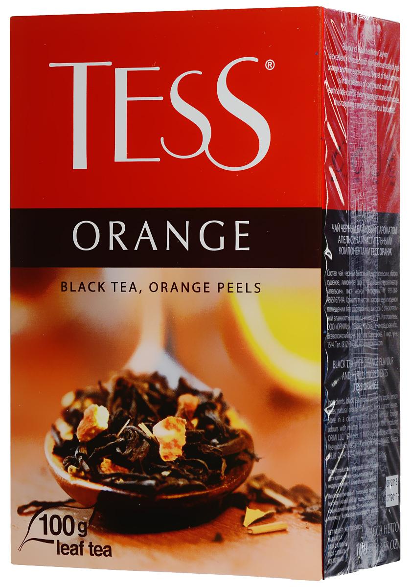 Tess Orange черный листовой чай, 100 г0646-15_с цедрой апельсинаЧерный листовой чай Tess Orange - это освежающий черный чай с листом черной смородины, цедрой апельсина, сушеным яблоком. В яркой композиции Tess Orange насыщенный вкус черного чая гармонично сочетается с оттенками апельсина и яблока. Свежий аромат личи и тонкие ноты черной смородины вносят завершающий штрих в богатую вкусовую гамму.
