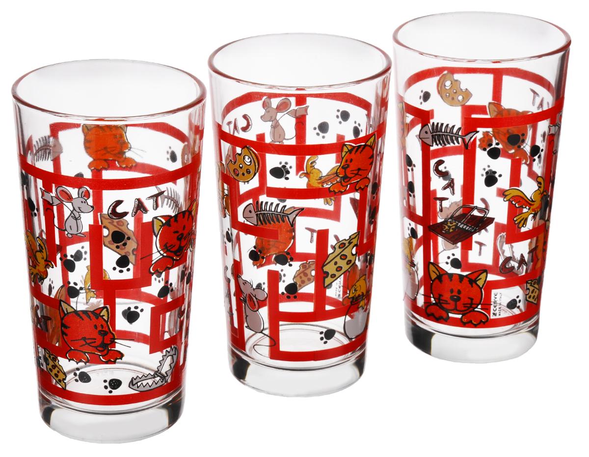 Набор стаканов Cerve Лабиринт. Кошки, 250 мл, 3 штCED24770Набор Cerve Лабиринт. Кошки состоит из 3 стаканов, изготовленных из высококачественного стекла. Изделия оформлены изображениями котят и мышек в лабиринте. Такой набор идеально подойдет для сервировки стола и станет отличным подарком к любому празднику. Разрешается мыть в посудомоечной машине. Диаметр стакана (по верхнему краю): 6,5 см. Высота стакана: 12 см.