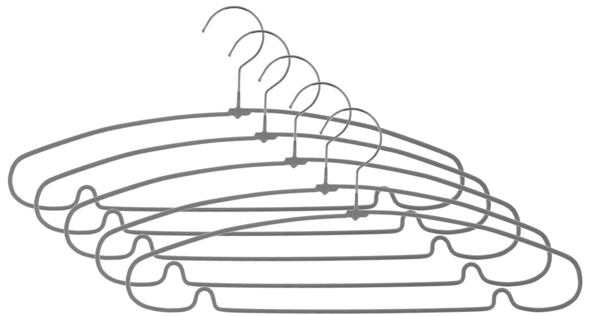 Вешалка для одежды Чистый домик, цвет: серый, 40 см, 5 штGYMHS2665SВешалка для одежды Чистый домик, выполненная из металла с противоскользящим покрытием, идеально подойдет для разного вида одежды. Она имеет надежный крючок и металлическую перекладину с двумя выемками для юбок. Вешалка - это незаменимая вещь для того, чтобы ваша одежда всегда оставалась в хорошем состоянии. Размер вешалки: 40 см х 0,5 см х 18 см. Комплектация: 5 шт.