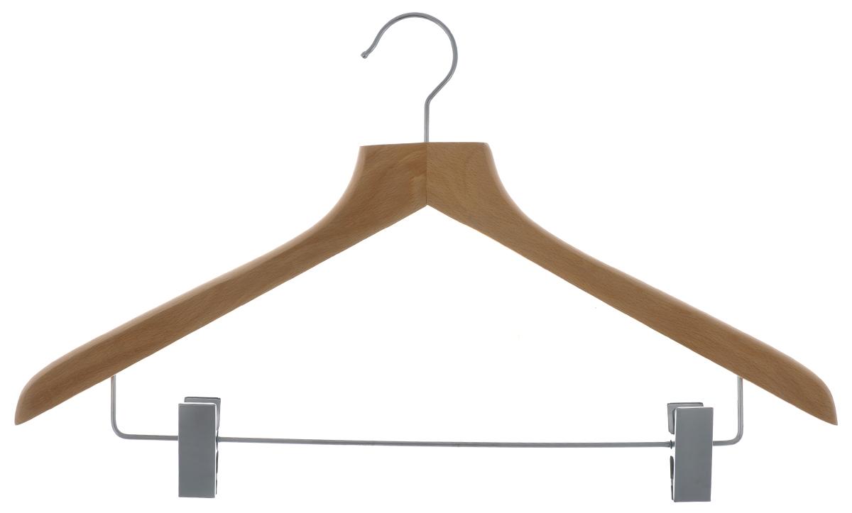 Вешалка для одежды Cosatto, с зажимами, цвет: бук, 45 смCOVLPALN72Вешалка для одежды Cosatto, выполненная из дерева и нержавеющей стали, идеально подойдет для разного вида одежды. Она имеет надежный крючок и металлическую перекладину с двумя зажимами для брюк и юбок. Вешалка - это незаменимая вещь для того, чтобы ваша одежда всегда оставалась в хорошем состоянии. Размер вешалки: 44 см х 1,5 см х 26,5 см.