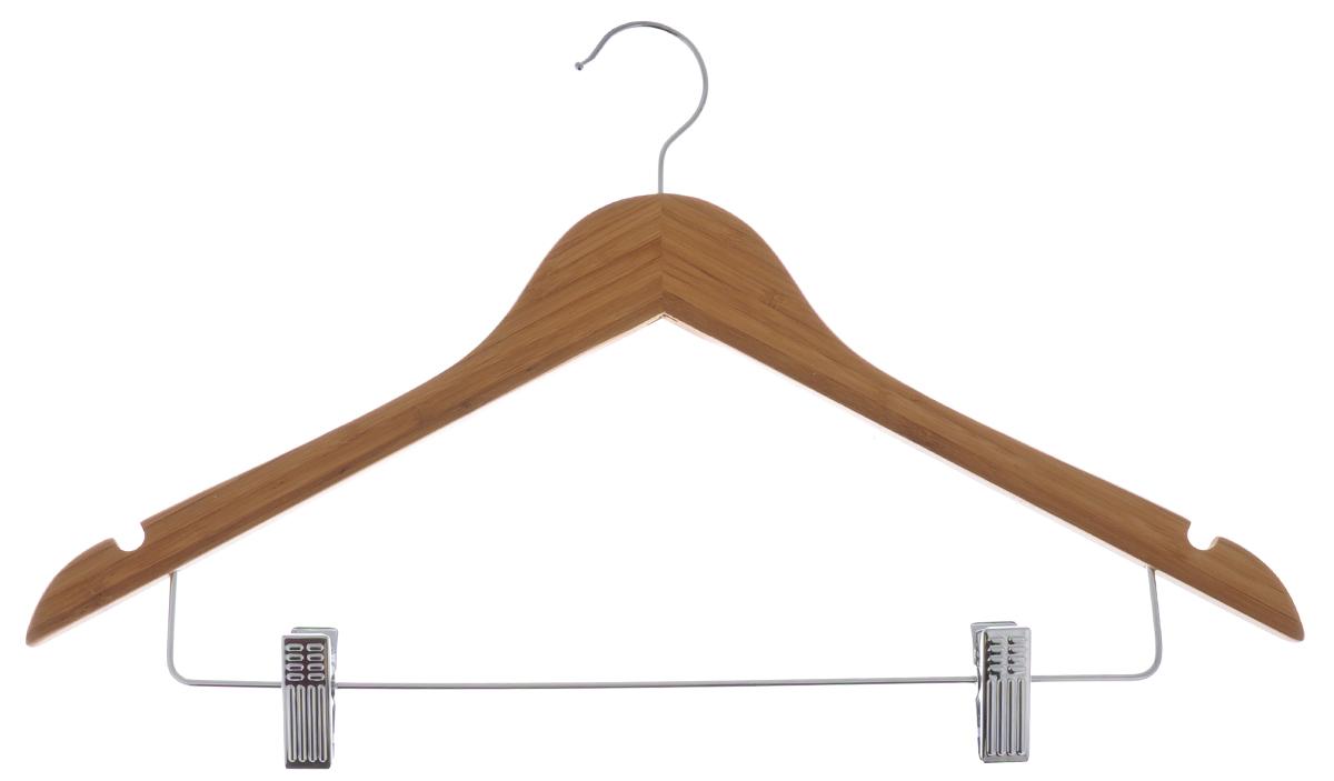 Вешалка для одежды Huahai, с зажимами, 45 смHHWHK30126Вешалка для одежды Huahai, выполненная из дерева и металла, идеально подойдет для разного вида одежды. Она имеет надежный крючок, металлическую перекладину с двумя зажимами для брюк и две выемки для юбок. Вешалка - это незаменимая вещь для того, чтобы ваша одежда всегда оставалась в хорошем состоянии. Размер вешалки: 45 см х 1,5 см х 26,5 см.