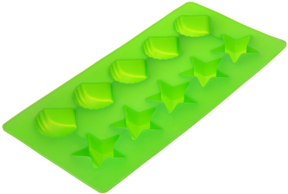 Форма для льда Marmiton Звездочки и ракушки, цвет: зеленый, 10 ячеек16002_зеленыйФорма Marmiton Звездочки и ракушки выполнена из силикона и предназначена для приготовления выпечки, мармелада и льда. На одном листе расположено 10 ячеек в виде звездочек и ракушек. Благодаря тому, что форма изготовлена из силикона, готовый десерт вынимать легко и просто. Материал устойчив к фруктовым кислотам, к воздействию низких и высоких температур. Не взаимодействует с продуктами питания и не впитывает запахи. Силикон абсолютно безвреден для здоровья. Чтобы достать лед, эту форму не нужно держать под теплой водой или использовать нож. Можно мыть в посудомоечной машине. Общий размер формы: 21 см х 10,5 см х 2,5 см. Количество ячеек: 10 шт. Размер ячеек (в виде ракушек): 3,5 см х 3,5 см х 2 см. Размер ячеек (в виде звездочек): 4 см х 3,5 см х 2 см.