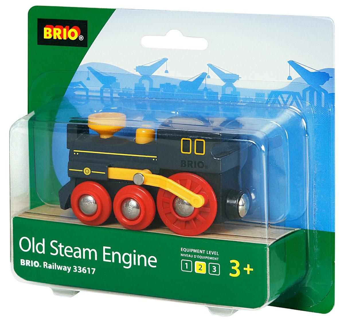 Brio Железная дорога Паровоз классика33617Паровозик дизайна под старину воспроизводит реалистичное поршневое движение, если толкать его вперед. Размер 9х4х5см.