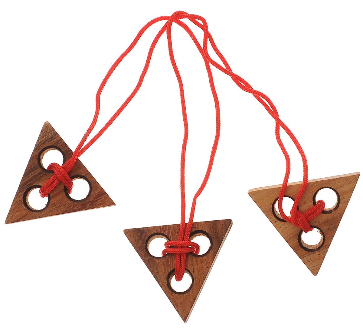 Dilemma Головоломка Три треугольникаIQ861Головоломка Dilemma Три треугольника, выполненная из дерева, станет отличным подарком всем любителям головоломок! Головоломка предусмотрена для одного игрока. Цель: освободить средний треугольник от веревки. Использование ножниц запрещено. Подсказка: не перекручивайте веревку. Получилось? Попробуйте завязать ее обратно. Слишком сложно? Воспользуйтесь подсказкой из предложенного решения. Головоломка Dilemma Три треугольника стимулирует логику, пространственное мышление и мелкую моторику рук.