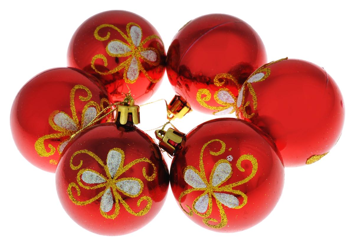 Набор новогодних подвесных украшений Euro House, цвет: красный, серебристый, золотистый, диаметр 6 см, 6 шт. ЕХ 9227ЕХ 9227Набор подвесных украшений Euro House прекрасно подойдет для праздничного декора новогодней ели. Набор состоит из 6 пластиковых украшений в виде глянцевых шаров, оформленных ярким изображением цветочных узоров и блестками. Для удобного размещения на елке для каждого украшения предусмотрена петелька, выполненная из текстиля. Елочная игрушка - символ Нового года. Она несет в себе волшебство и красоту праздника. Создайте в своем доме атмосферу веселья и радости, украшая новогоднюю елку нарядными игрушками, которые будут из года в год накапливать теплоту воспоминаний. Откройте для себя удивительный мир сказок и грез. Почувствуйте волшебные минуты ожидания праздника, создайте новогоднее настроение вашим дорогим и близким.