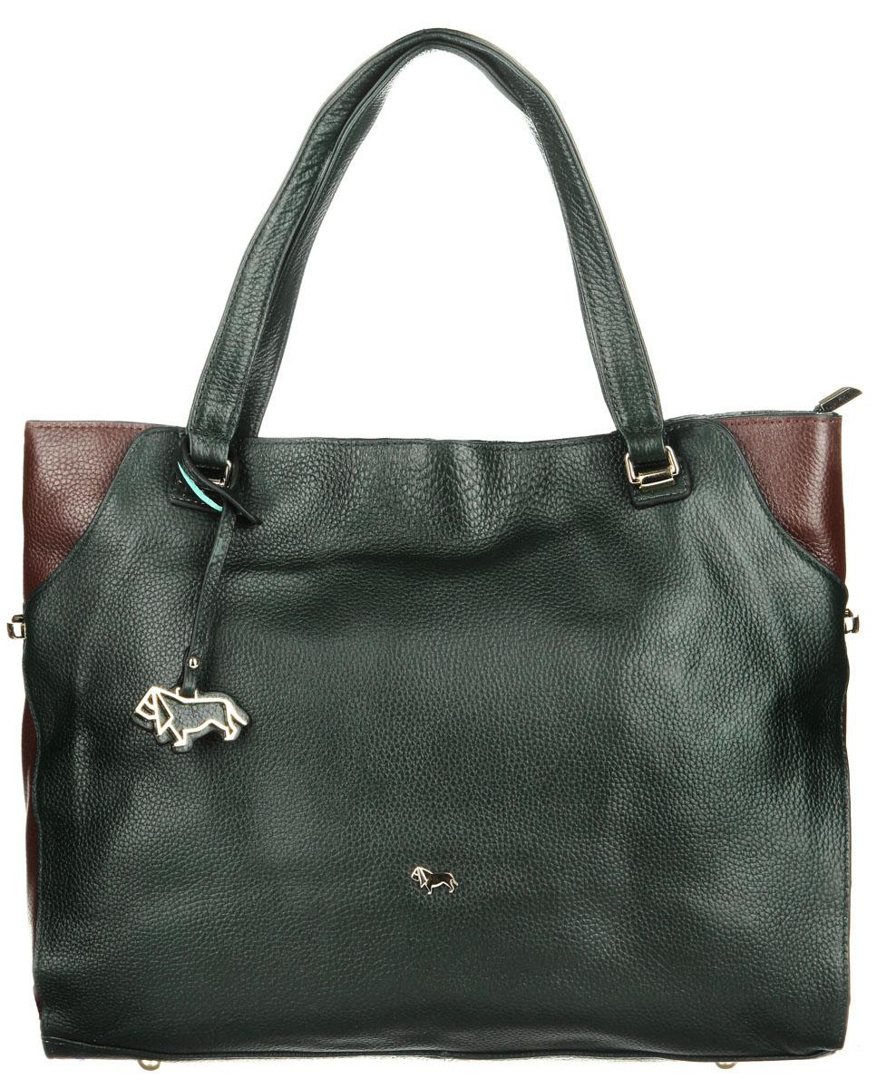 Сумка женская Labbra, цвет: темно-зеленый, темно-коричневый. L-1715-1L-1715-1Элегантная женская сумка Labbra выполнена из натуральной кожи с зернистой фактурой. Изделие оформлено металлической фурнитурой и подвеской в форме логотипа бренда. Изделие закрывается на застежку молнию. Внутри расположен врезной карман на молнии, два накладных кармана для телефона и мелочей и карман-средник на молнии. Снаружи, в задней стенке сумки расположен вшитый карман на молнии. Сумка оснащена практичными ручками, которые позволят носить изделие, как в руках, так и на плече. Дно сумки защищено металлическими ножками. Стильная сумка Labbra прекрасно дополнит ваш образ.