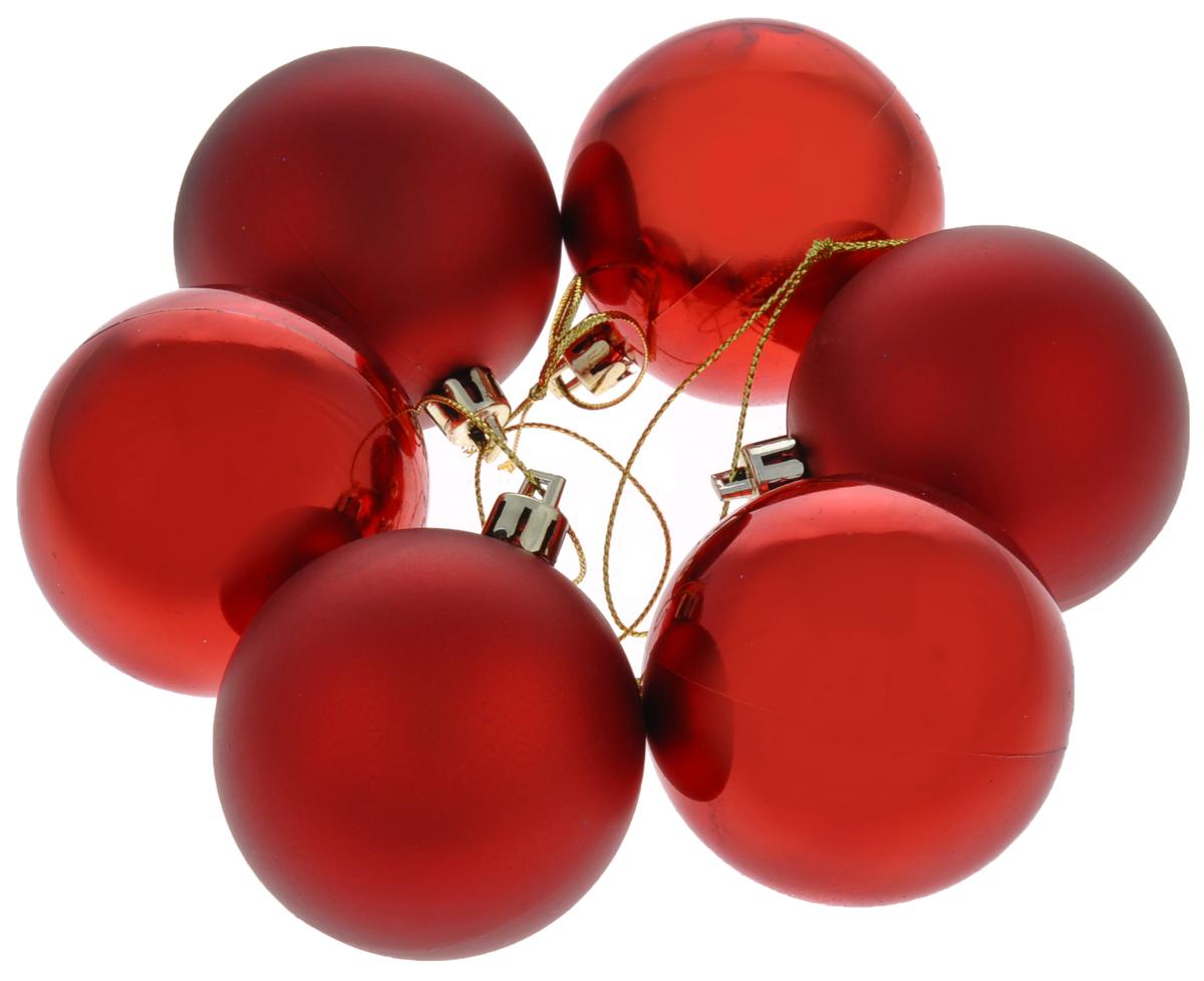 Набор новогодних подвесных украшений Euro House, цвет: красный, диаметр 6 см, 6 штЕХ7489_красныйНабор новогодних подвесных украшений Euro House прекрасно подойдет для праздничного декора новогодней ели. Набор состоит из 6 пластиковых украшений в виде шаров. Для удобного размещения на елке для каждого украшения предусмотрена петелька, выполненная из текстиля. Елочная игрушка - символ Нового года. Она несет в себе волшебство и красоту праздника. Создайте в своем доме атмосферу веселья и радости, украшая новогоднюю елку нарядными игрушками, которые будут из года в год накапливать теплоту воспоминаний. Откройте для себя удивительный мир сказок и грез. Почувствуйте волшебные минуты ожидания праздника, создайте новогоднее настроение вашим дорогим и близким.