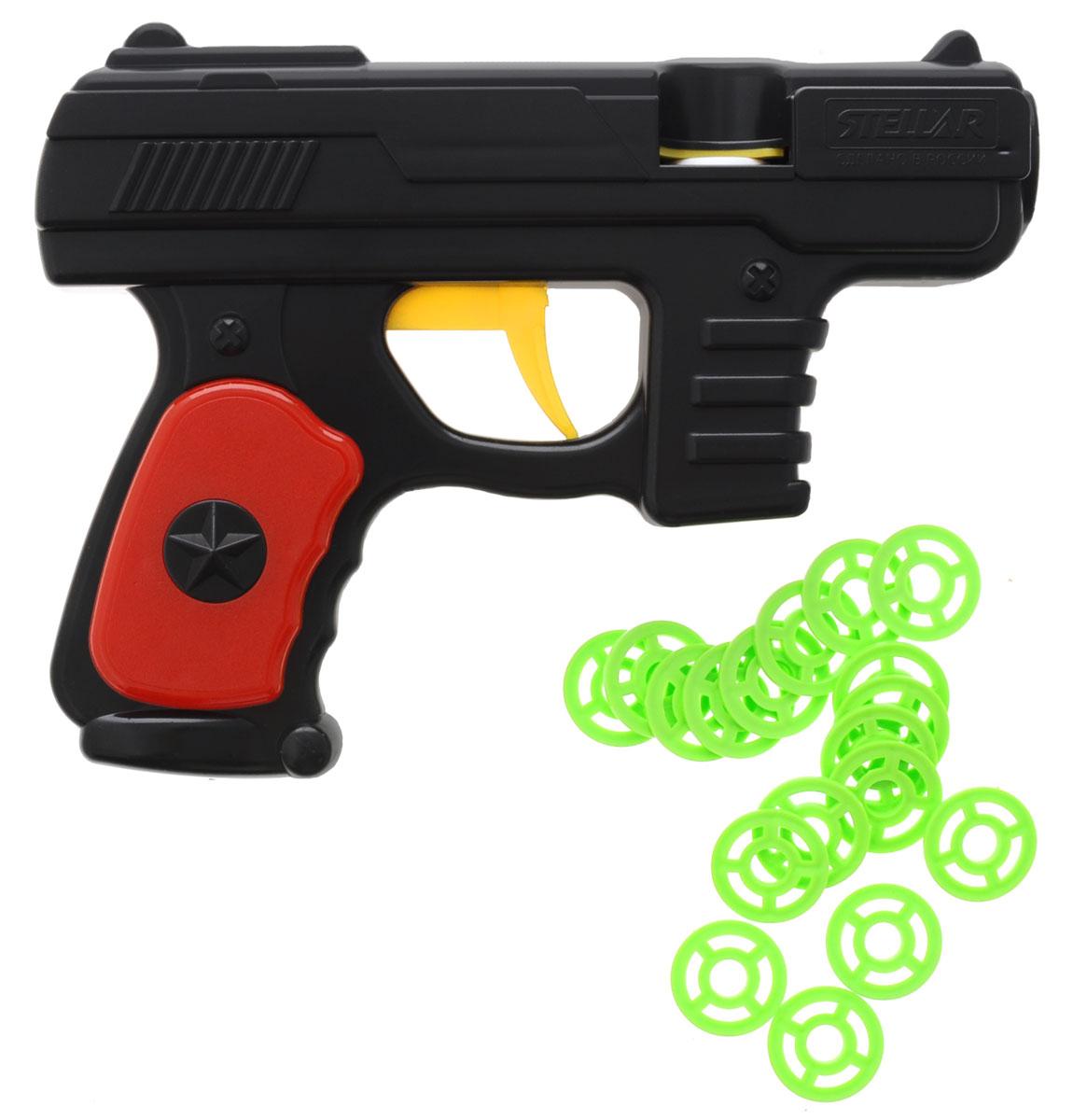 Stellar Пистолет дисковый1361_черныйДисковый пистолет Stellar - удивительный пластиковый пистолет, который понравится всем юным любителям пострелять. Игрушечный пистолет стреляет на небольшое расстояние необычными патронами - дисками (в комплекте). Игра с таким пистолетом поможет ребенку в развитии меткости, ловкости, координации движений и сноровке. Порадуйте ребенка такой замечательной игрушкой!