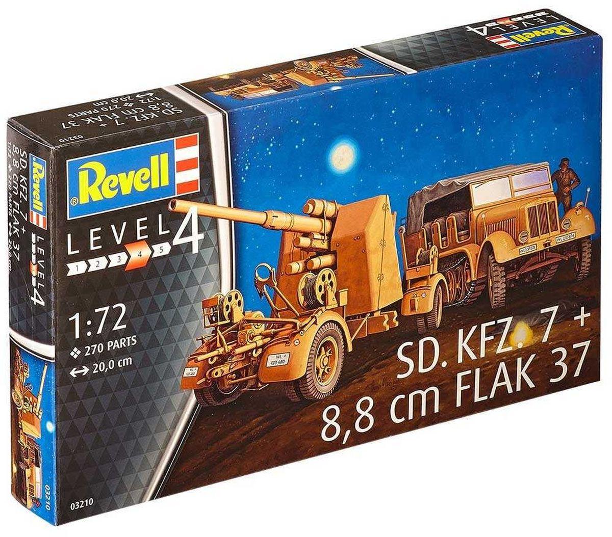 Revell Сборная модель Полугусеничный тягач Sd.Kfz. 7 и зенитная пушка 8,8 cm Flak 3703210RС помощью сборной модели Revell Полугусеничный тягач Sd.Kfz. 7 и зенитная пушка 8,8 cm Flak 37 вы и ваш ребенок сможете собрать уменьшенную копию одноименного тягача и зенитной пушки. Набор включает в себя 270 пластиковых элементов для сборки, а также схематичную инструкцию. Как и все полугусеничные тягачи, выпускавшиеся в годы войны в Германии, тягач SdKfz 7 имел передний управляемый автомобильный мост и гусеничный движитель. С каждого борта движителя оборудовалось по шесть сдвоенных обрезиненных опорных катков. Ширина гусеницы составляла 360 мм. Процесс сборки развивает интеллектуальные и инструментальные способности, воображение и конструктивное мышление, а также прививает практические навыки работы со схемами и чертежами. Уровень сложности: 4. УВАЖАЕМЫЕ КЛИЕНТЫ! Обращаем ваше внимание на тот факт, что элементы для сборки не покрашены. Клей и краски в комплект не входят.