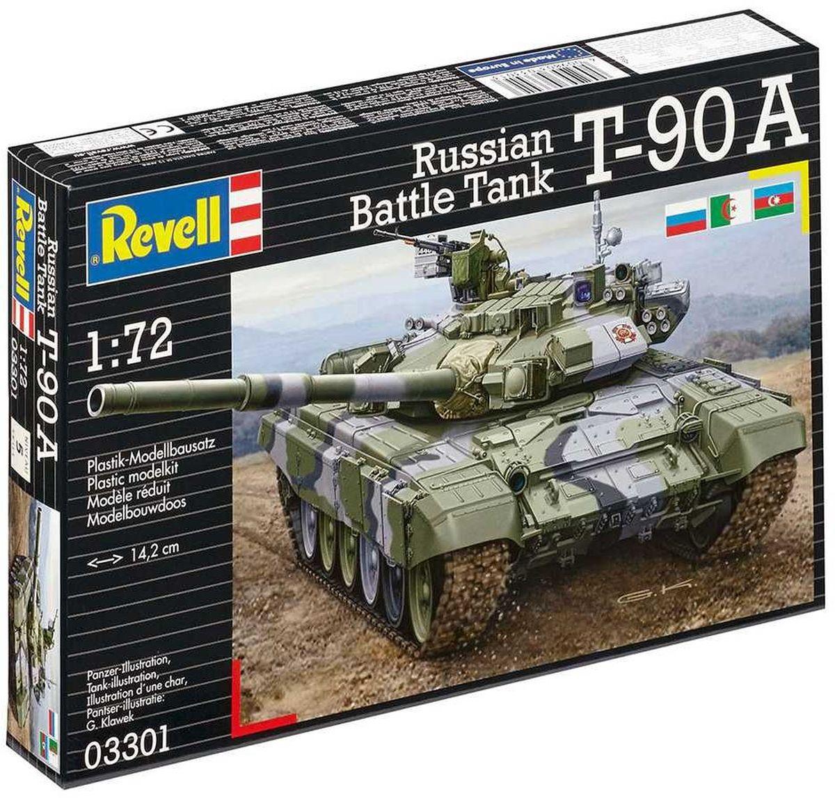 Revell Сборная модель Танк T-90A03301RСборная модель российского танка Т-90А в масштабе 1:72 выполнена из пластика. Для сборки вам понадобится клей для пластика. Кроме того модель необходимо будет покрасить. Рекомендуется использовать клей и краску (акриловую или эмалевую) от Revell. В комплекте с моделью идут декали (переводные картинки). Они помогут вам собрать на выбор одну из 4 уникальных моделей - два варианта танка российской армии, один - азербайджанской, а также вариант танка армии Алжира.