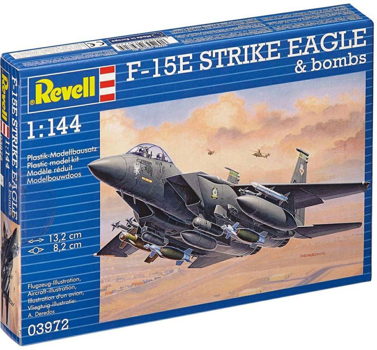 Revell Сборная модель Самолет F-15E Strike Eagle & Bombs03972RС помощью сборной модели Revell Самолет F-15E Strike Eagle & Bombs вы и ваш ребенок сможете собрать уменьшенную копию одноименного самолета. Набор включает в себя 70 пластиковых элементов для сборки, а также схематичную инструкцию. Также в комплект входят бомбы для самолета. F-15E Strike Eagle - американский двухместный истребитель-бомбардировщик, созданный на базе учебно-боевого истребителя F-15D. Может использоваться для патрулирования воздушного пространства и обеспечения прикрытия сухопутных войск. Совершил первый полёт 11 декабря 1986 года. По состоянию на 2012 год построено более 470 самолётов. Поставлялся на экспорт в Израиль, Саудовскую Аравию, Южную Корею, заказан Сингапуром. Впервые применён в 1991 году (Война в Персидском заливе). Процесс сборки развивает интеллектуальные и инструментальные способности, воображение и конструктивное мышление, а также прививает практические навыки работы со схемами и чертежами. Уровень сложности: 3. УВАЖАЕМЫЕ...