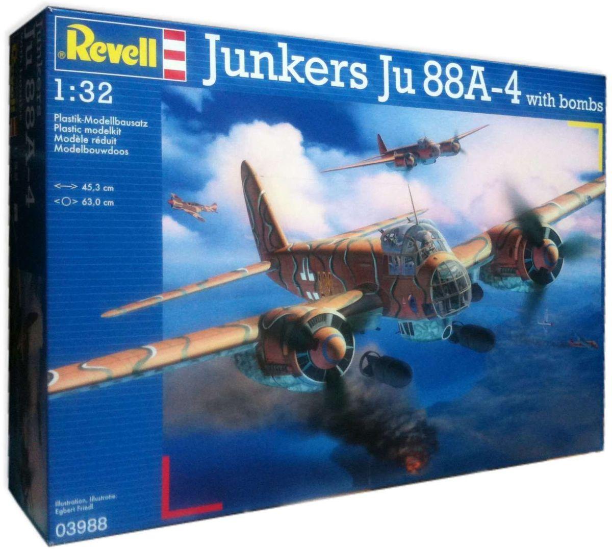 Revell Сборная модель Бомбардировщик Junkers Ju 88A-4 с бомбами03988RС помощью сборной модели Revell Бомбардировщик Junkers Ju 88A-4 с бомбами вы и ваш ребенок сможете собрать уменьшенную копию одноименного самолета. Набор включает в себя 380 пластиковых элементов для сборки, а также схематичную инструкцию и бомбы для самолета. Немецкий многоцелевой самолет Ju 88 A4/D-1 широко применялся в ходе Второй мировой войны. Использовался как бомбардировщик, разведчик, торпедоносец и ночной истребитель. За шесть лет было выпущено около 15 тысяч машин. При разработке модификации A4 были учтены все недочеты предыдущих версий. Новый Ju 88 стал грозной боевой машиной. Кроме того эта версия обзавелась более мощными двигателями. Процесс сборки развивает интеллектуальные и инструментальные способности, воображение и конструктивное мышление, а также прививает практические навыки работы со схемами и чертежами. Уровень сложности: 5. УВАЖАЕМЫЕ КЛИЕНТЫ! Обращаем ваше внимание на тот факт, что элементы для сборки не покрашены. Клей и...