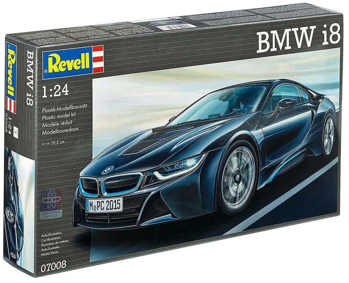 Revell Сборная модель Автомобиль BMW i807008RС помощью сборной модели Revell Автомобиль BMW i8 вы и ваш ребенок сможете собрать уменьшенную копию одноименного автомобиля. Набор включает в себя 131 пластиковый элемент для сборки. BMW i8 - будущее спорткаров уже здесь. Новый автомобиль от BMW собрал в себе все новейшие наработки и технологии в области автомобилестроения. Задний мост работает от 3-цилиндрового гибридного двигателя. Передний - от электродвигателя. Взаимодействие между двумя двигателями оптимально скоординировано при помощи интеллектуальной системы управления энергопотреблением. Все нововведения позволяют машине разгоняться до 100 км/ч за 4,4 секунды. Максимальная скорость машины равна 250 км/ч. Процесс сборки развивает интеллектуальные и инструментальные способности, воображение и конструктивное мышление, а также прививает практические навыки работы со схемами и чертежами. Уровень сложности: 3. УВАЖАЕМЫЕ КЛИЕНТЫ! Обращаем ваше внимание на тот факт, что элементы для сборки не...