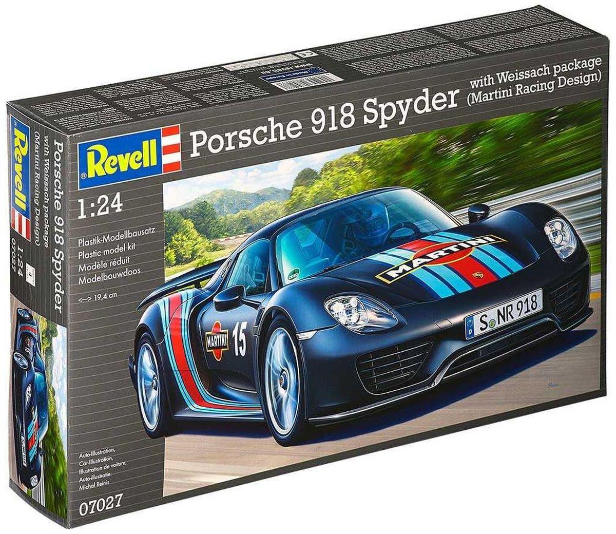 Revell Сборная модель Автомобиль Porsche 918 Spyder Martini Racing Design07027RС помощью сборной модели Revell Автомобиль Porsche 918 Spyder Martini Racing Design вы и ваш ребенок сможете собрать уменьшенную копию одноименного автомобиля. Набор включает в себя 136 пластиковых элементов для сборки. Компания Revell предлагает любителям быстрой езды спортивную модель автомобиля Porsche 918 Spyder. Это яркая и красивая машина, мимо которой нельзя просто пройти! Модель поражает своей реалистичностью и огромным сходством с оригиналом. Подвеска, электродвигатель и салон точь в точь напоминают своего большого родственника. Процесс сборки развивает интеллектуальные и инструментальные способности, воображение и конструктивное мышление, а также прививает практические навыки работы со схемами и чертежами. Уровень сложности: 4. УВАЖАЕМЫЕ КЛИЕНТЫ! Обращаем ваше внимание на тот факт, что элементы для сборки не покрашены. Клей и краски в комплект не входят.