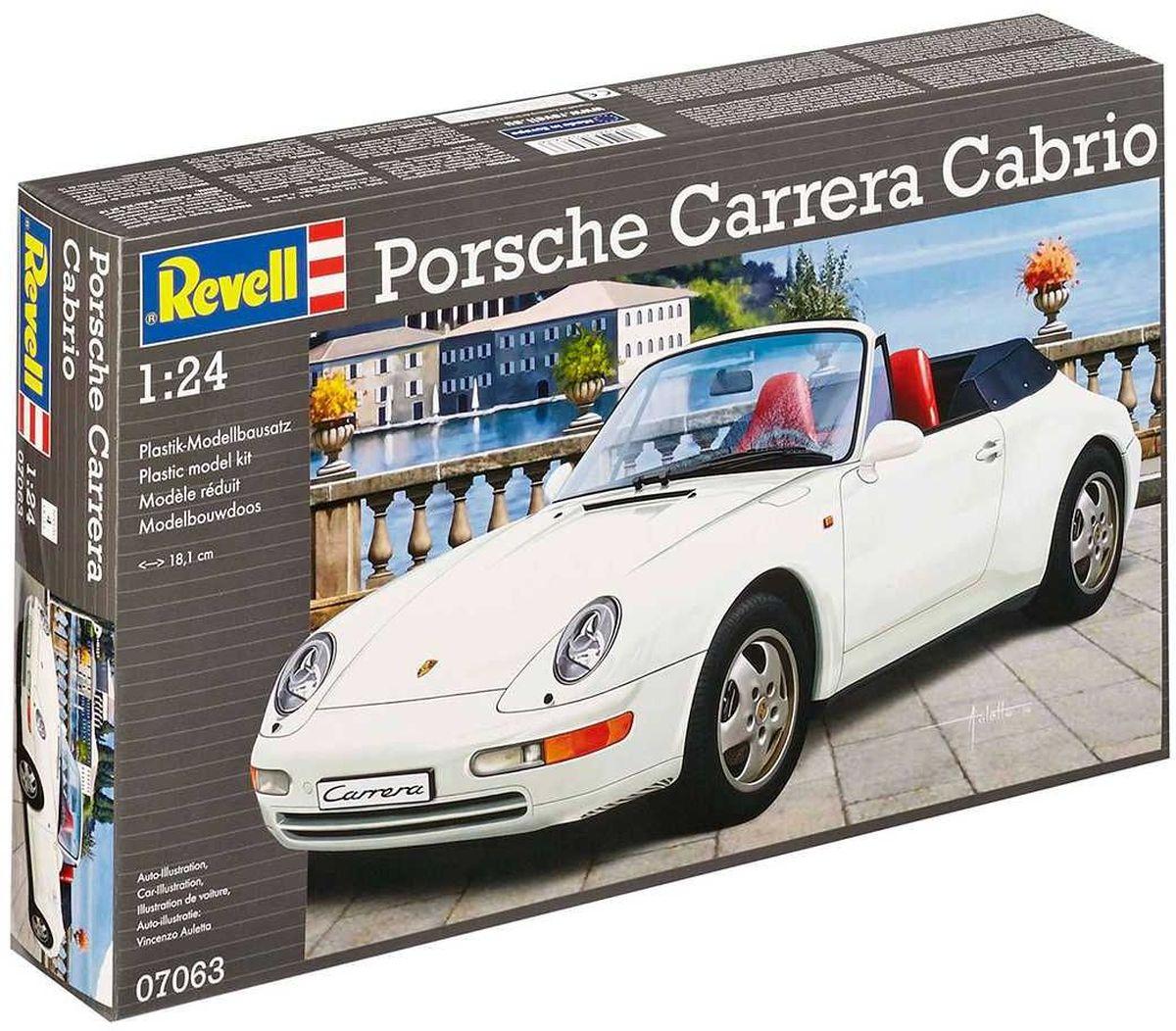 Revell Сборная модель Автомобиль Porsche Carrera Cabrio07063RС помощью сборной модели Revell Автомобиль Porsche Carrera Cabrio вы и ваш ребенок сможете собрать уменьшенную копию одноименного автомобиля. Набор включает в себя 93 пластиковых элемента для сборки. Porsche Carrera Cabrio отличаеются разнообразными достоинствами. Она позволяет и неторопливо ездить по прибрежным курортным дорогам, и в спортивном стиле проходить повороты на горных серпантинах. Она производит впечатление своей впечатляющей тягой и высокой маневренностью. Процесс сборки развивает интеллектуальные и инструментальные способности, воображение и конструктивное мышление, а также прививает практические навыки работы со схемами и чертежами. Уровень сложности: 4. УВАЖАЕМЫЕ КЛИЕНТЫ! Обращаем ваше внимание на тот факт, что элементы для сборки не покрашены. Клей и краски в комплект не входят.