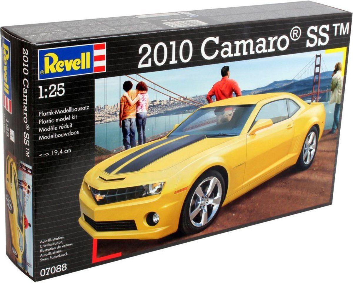 Revell Сборная модель Автомобиль 2010 Camaro SS07088RСборная модель спортивного автомобиля Camaro SS 2010 года выпуска. Достоверно воспроизведенный кузов выполнен единой деталью с точной деталировкой поверхности. Детализированный интерьер с сиденьями, управлением и панелью приборов, внутренняя обшивка дверей выполнены отдельными деталями. В комплекте детали для 2 вариантов «обвеса»: стандартный и спортивный. Детализированный сборный двигатель, проработанное подкапотное пространство, открывающийся капот Детализированная подвеска с проработанными амортизаторами, стабилизаторами, тормозными дисками, выхлоп выполнен отдельной деталью Низкопрофильные покрышки из синтетической резины с проработанным рисунком протектора Детали из прозрачного пластика для остекления салона, стёкол фар, габаритных огней Детали с блестящим металлическим напылением для имитации литых колёсных дисков, отражателей фар, зеркал заднего вида, включая салонное Спойлер, молдинги, внешние ручки дверей и другие подробности. ...