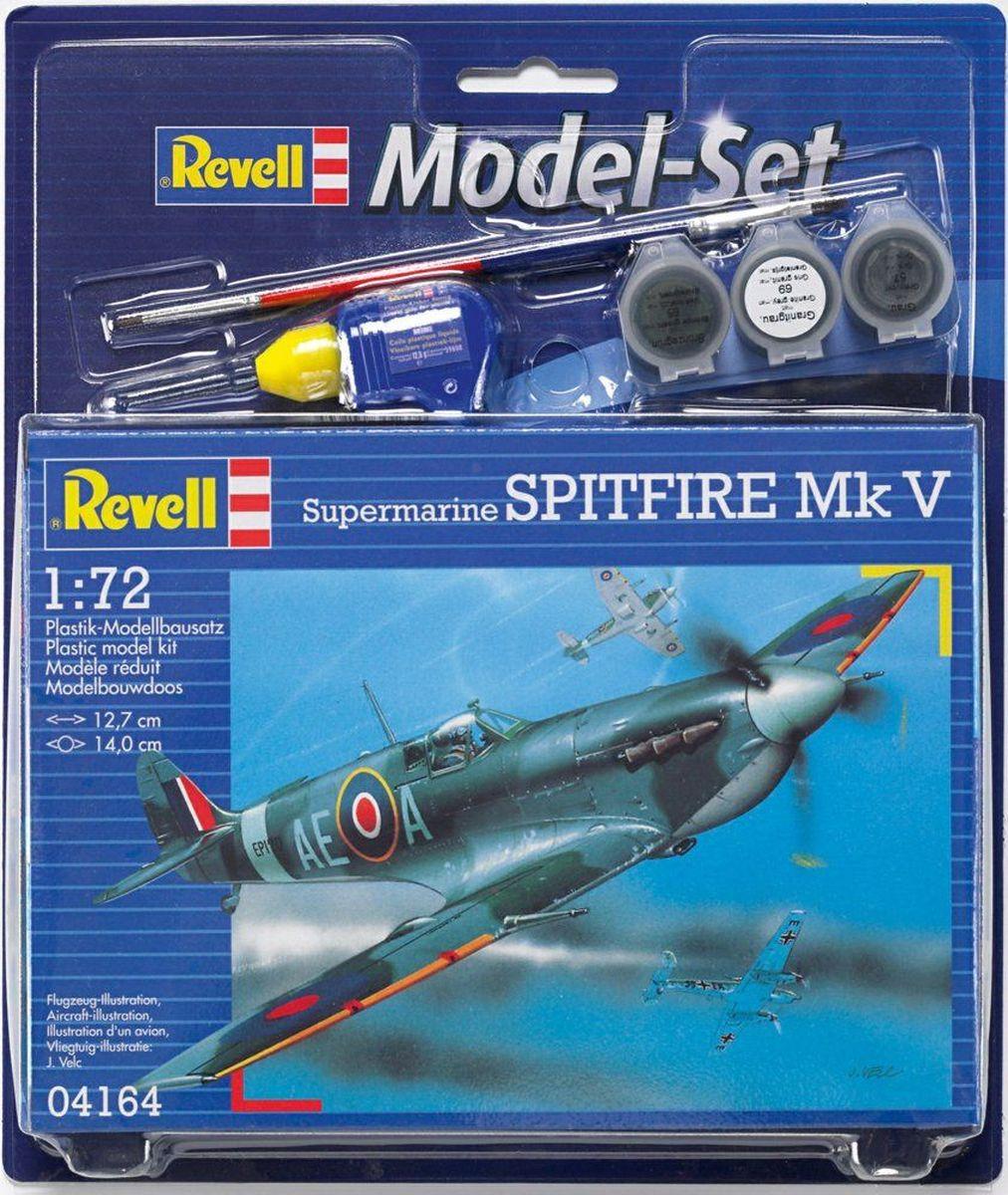 Revell Набор для сборки и раскрашивания Cамолет Supermarine Spitfire Mk V64164Самолет Supermarine Spitfire Mk. V – наиболее известный английский истребитель Второй мировой. Всего было построено свыше 20 тысяч машин данной модели. Спитфаеры поставлялись по ленд-лизу в СССР. Модификации Mk.V активно использовались советскими летчиками в 1943 году во время боев над Украиной. Размах крыльев: 140 мм В набор входят клей, краски и кисточки для полноценной сборки