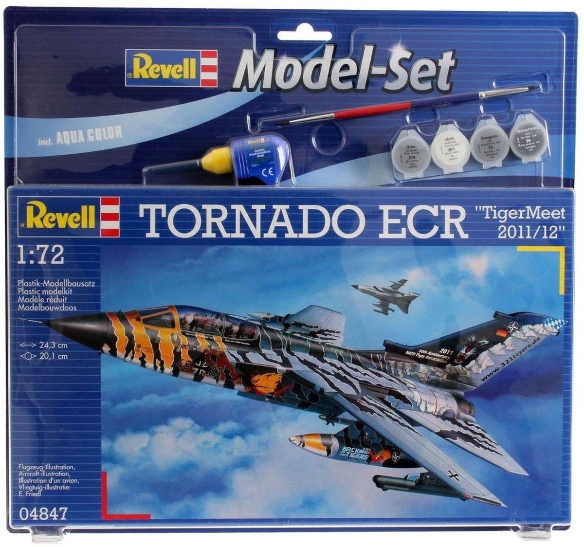 Revell Набор для сборки и раскрашивания Бомбардировщик Tornado ECR Tigermeet 2011/1264847Tornado - реактивный истребитель-бомбардировщик с крылом изменяемой стреловидности. Был разработан в середине 1970-х годов. До сих пор состоит на вооружении ВВС ряда европейских и ближневосточных стран. Торнадо активно применялись во время войны в Персидском заливе, а также во время операции НАТО в Югославии. Всего во время боевых действий было потеряно 9 машин. Масштаб: 1:72 Количество элементов: 155 Длина модели: 24,3см Размах крыльев: 20,1см Для детей от 10 лет. В наборе клей, кисточка и базовые краски.